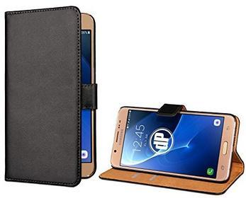 Samsung deinPhone Galaxy J7 (2016) beschichtetes Leder Flip Case Hülle Tasche mit Kreditkartenfach Bookstyle Schwarz