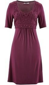 Bonprix Sukienka z koronkową wstawką, krótki rękaw 945842_40546 bordowy