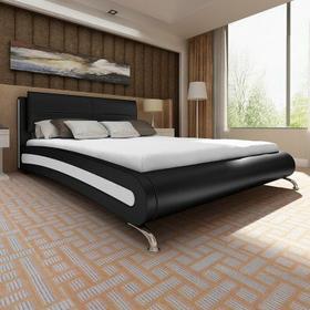 Łóżko czarno białe ze skóry syntetycznej z nogami 140x200 cm