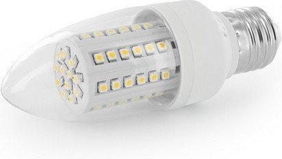 Whitenergy żarówka LED | E27 | 60 SMD | 3W | 230V | barwa ciepła biała 3000k | świeczka