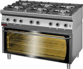 Kromet Kuchnia gazowa 6-palnikowa z piekarnikiem elektrycznym moduł 3xGN1/1 700.