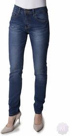 Norfy Damskie spodnie jeansowe rurki granatowe z wyższym stanem