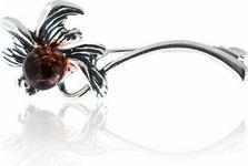 AnKa Biżuteria Broszka srebrna z bursztynem naturalnym - Szarotka