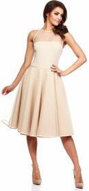 Dawanda MOE148 Sukienka z tiulowym dekoltem - beżowy 73511179