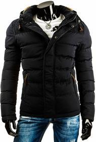 Czarna męska kurtka zimowa z kapturem (tx0886) - czarny