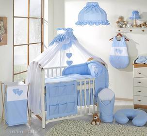 Mamo-Tato pościel 5-el Serduszka w błękicie do łóżeczka 60x120cm - Moskitiera