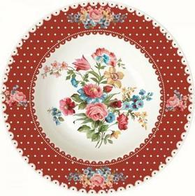 Dekoria Talerz głęboki Les Fleurs, białe tło z czerwoną obwolutą śr.21,5 cm