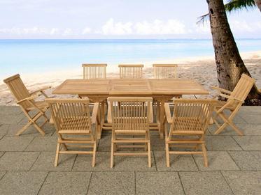 Beliani Zestaw mebli ogrodowych z drewna tekowego, stól z 8 krzeslami TEAK brazo