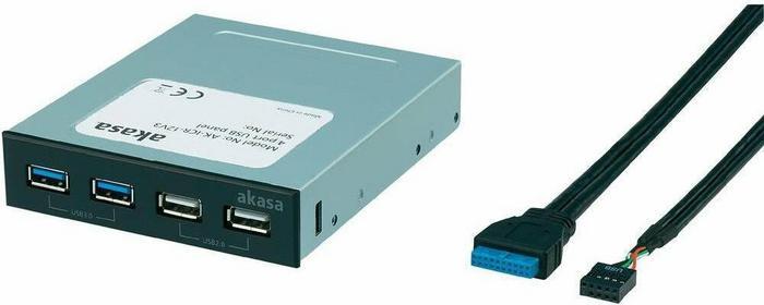 Akasa Hub USB do zabudowy 4 2 x USB 3.0 2 x USB 2.0 czarny