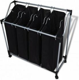 Kosz na pranie, pojemnik, sortownik, 4 komory, czarny.