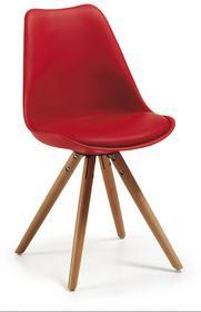 LaForma Krzesło LARS Czerwone drewniane Nogi - czerwony