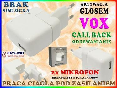 Podsłuch GSM W ŁADOWARCE ZASILACZU USB 5V 500mA DETEKCJĄ GŁOSU VOX Easy_ID:1MR03