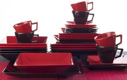 OXFORD SORTIDO - Porcelanowa Zastawa stołowa obiadowo-kawowa 30 części dla 6 osób