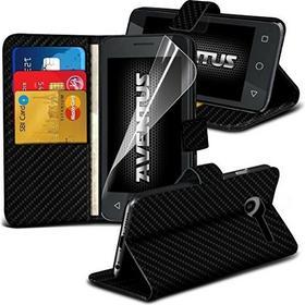 Samsung Aventus Galaxy J3 Pro (Carbon) Hülle Fall Premium-Pu-Leder-Standplatz-Mappen-Magnetic-Abdeckung Mit 2 Id / Kartenhalter Slots, Magnetverschluss Zum Einfachen Verschluss & LCD-Schirm-Schutz