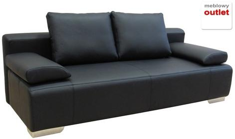 Korfu Sofa rozkładana skórzana czarna SMOSBMASBLK