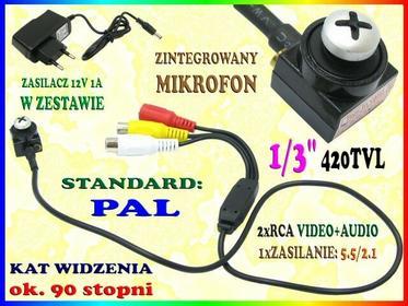 UKRYTA Kamera CCTV Z MASKOWNICĄ W KSZTAŁCIE ŚRUBKI KĄT WIDZENIA 90 stopni Easy_I