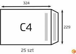 NC Koperta C4 biała samoklejąca (op. 25 szt.) (B-KOP-C4 BIAŁA/25)