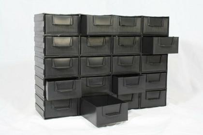szafka plastikowa z szufladkami 10 modułów czarna PK 20