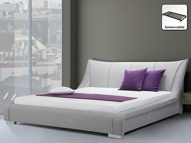 Beliani Nowoczesne łóżko Tapicerowane ze stelazem 160x200 cm - NANTES szare szar