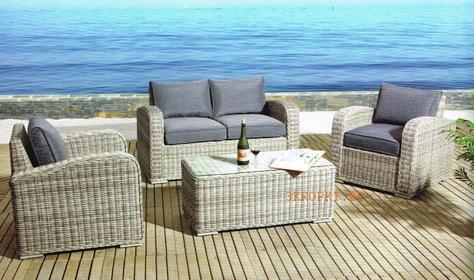 Technorattan Ekskluzywny Zestaw LAGOS Ogrodowy Sofa + 2 Fotele + Stół Szary