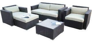 Inspirowane Zestaw mebli ogrodowych czarny rattan, grey poduszki T017 GY