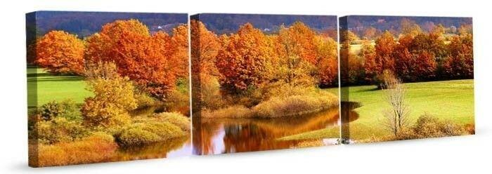 DobryObraz Trzy kwadraty - Jesienny krajobraz 0004 - obraz na płótnie