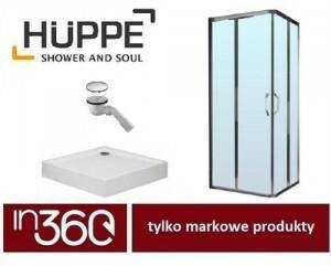 Huppe Ena kabina prysznicowa 80x80 + brodzik Kaldewei SP-5 + syfon (120301069321