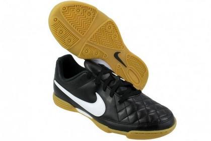 Nike Jr Tiempo Rio II - czarny Ekoskórzane Buty sportowe Dziecięce - 631526 010