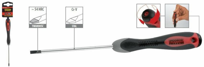 Modeco wkrętaki precyzyjne płaskie, 54 HRC MN-10-181