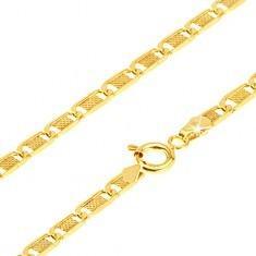 Biżuteria e-shop Złoty łańcuszek 585 - płaskie podłużne ogniwa z kratką, 500 mm