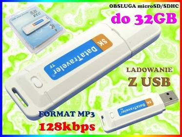MINI Dyktafon CYFROWY PODSŁUCH SZPIEG 128kbps MP3 na karty micro SD do 32GB Easy