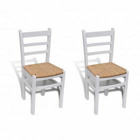 Białe drewniane krzesła jadalniane 2 szt
