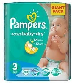 Pampers Active Baby-dry 3 Midi, 90 szt.