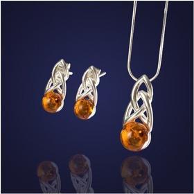 AnKa Biżuteria Komplet biżuterii-Naturalny bursztyn ze srebrem.