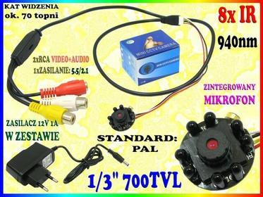 MINIATUROWY MODUŁ KAMERY CCTV 700TVL DO ZABUDOWY UKRYTA MINI Kamera 8 x BLACK IR