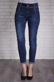 By Sasha Damskie spodnie rurki jeansy granatowy z wyższym stanem 7/8 (D170)