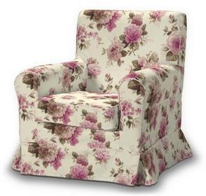 Dekoria Pokrowiec na fotel Ektorp Jennylund Mirella różowo-beżowe róże na kremow