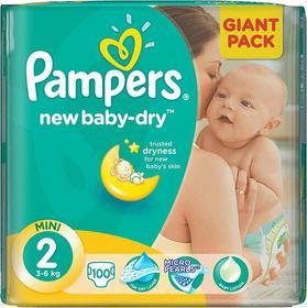 Pampers New Baby-dry MINI 2 (3-6kg) 100 szt. GIANT PACK - pieluszki jednorazowe