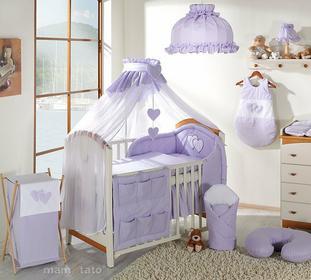 Mamo-Tato pościel 5-el Serduszka w fiolecie do łóżeczka 60x120cm - Moskitiera