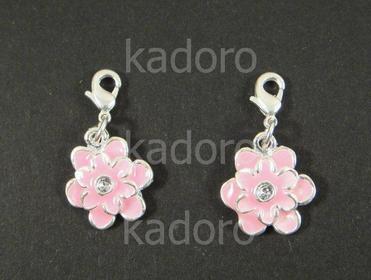 Zawieszka charm kwiatek różowy - 1 sztuka