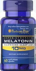 PURITANS PRIDE MELATONINA 10 mg - 60 kapsułek sen bezsenność