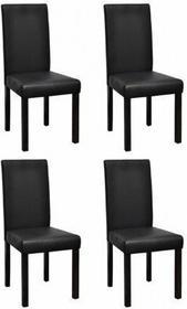 Czarne, skóra jadalniane krzesła (4 sztuki).