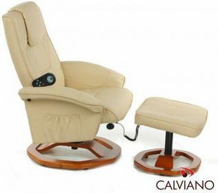 Calviano Fotel z masażem + puff z masażem - beżowy