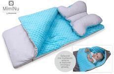 Kieczmerski MimiNu Śpiworek z poduszką do wózka fotelika na sanki turkus + maczek jasnoszary