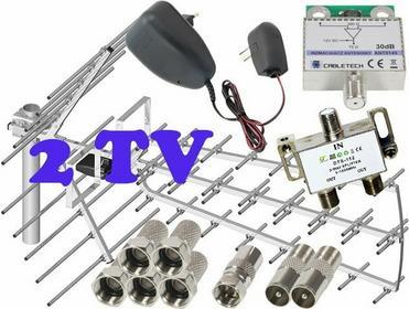 Zestaw antenowy dla 2 TV: TRI-DIGIT PLATINUM + wzmacniacz + zasilacz antenowy +