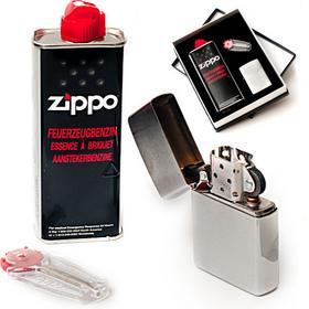 ZIPPO Zestaw, Zapalniczka + benz + kam