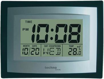 Technoline Zegar kwarcowy ścienny cyfrowy WS 8004 35 x 220 x 170 mm czarny/srebr