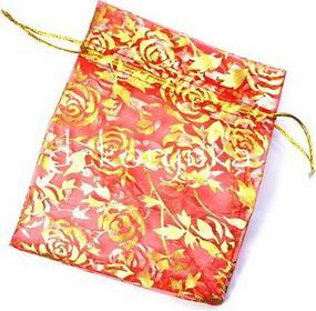 Woreczek na biżuterię ozdobny PREZENTOWY 11x14cm organza róże