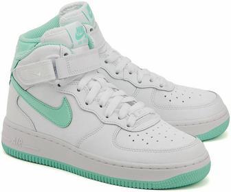 Nike Air Force Mid 1 Mid - Białe Skórzane Sportowe Dziecięce - 518218 107