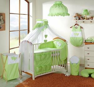 Mamo-Tato pościel 5-el Serduszka w zieleni do łóżeczka 60x120cm - Moskitiera